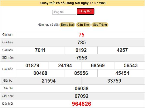 Quay thử kết quả xổ số miền Nam Đồng Nai ngày 15/7/2020 thứ 4