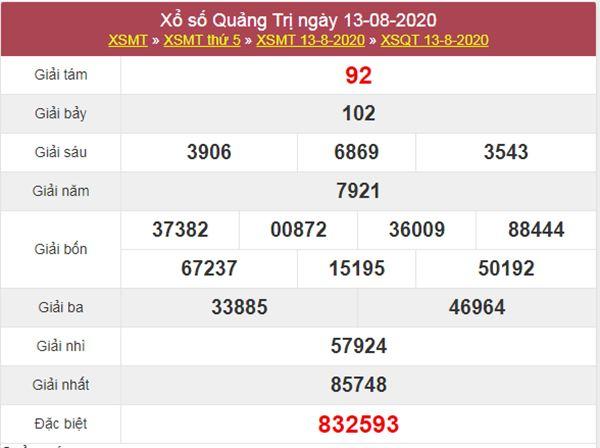 Thống kê XSQT 20/8/2020 chốt KQXS Quảng Trị thứ 5