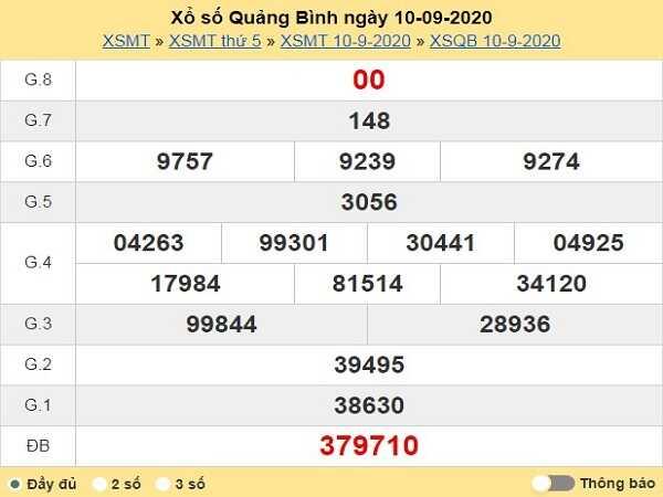 Tổng hợp KQXSQB- chốt dự đoán xổ số quảng bình ngày 17/09/2020