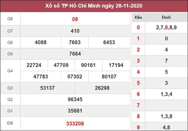 Soi cầu KQXS Hồ Chí Minh 30/11/2020 thứ 2 độ chuẩn xác cao