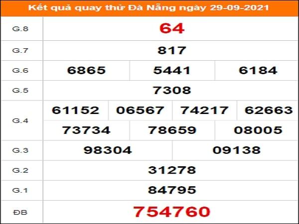 Quay thử kết quả xổ số Đà Nẵng 29/9/2021